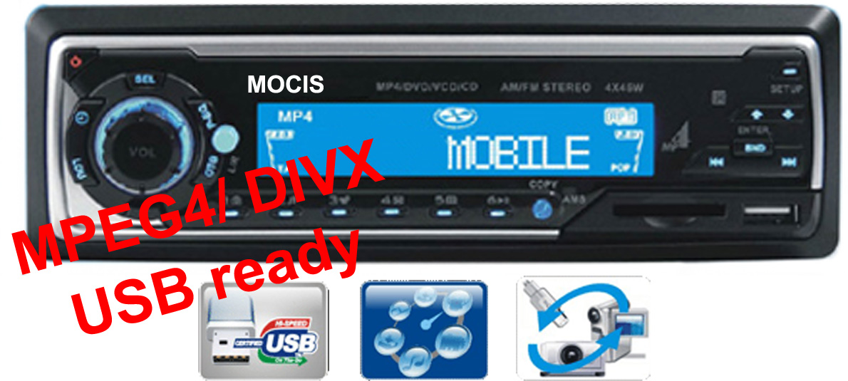 USB DVD/VCD/MP3/AM/FM/RDS/ 45W*4 player